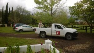 The planting crew - returning to campus